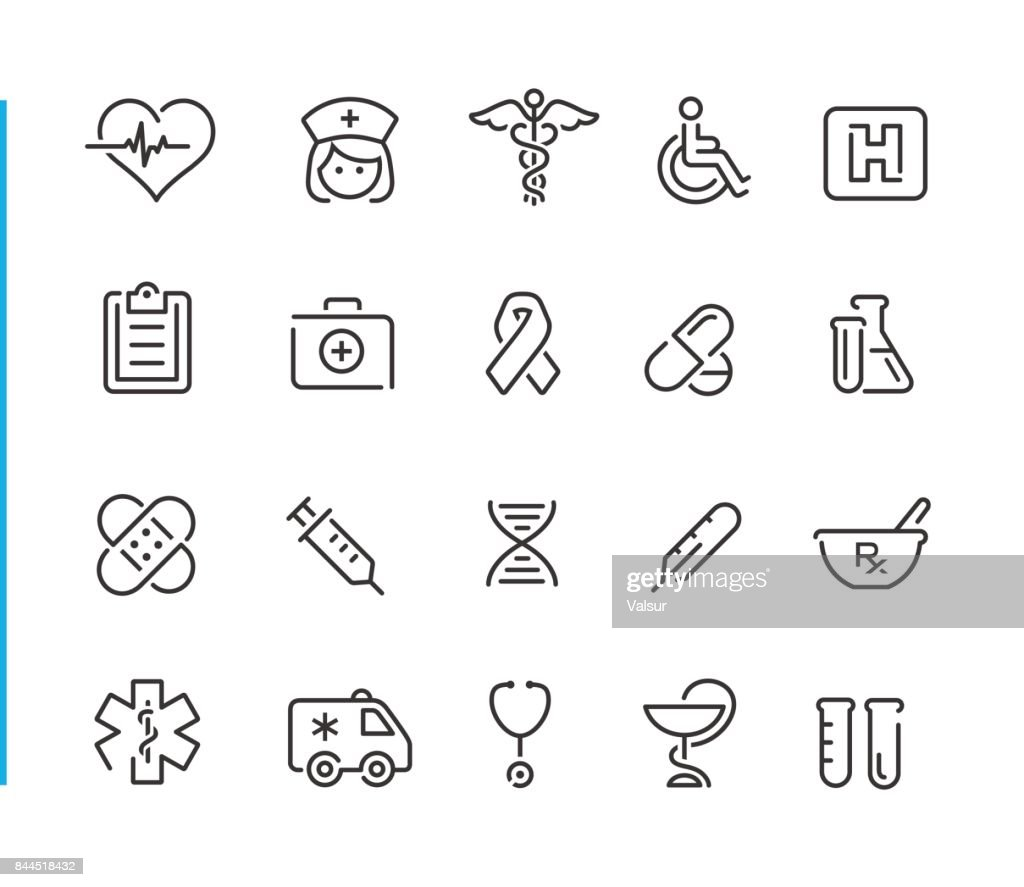 Medical Icon Set // Blue Line Series