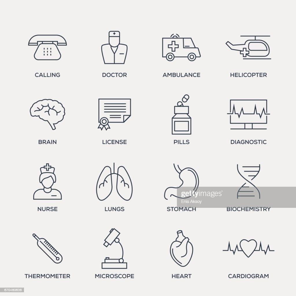 Medical Icon Set - Line Series : stock illustration