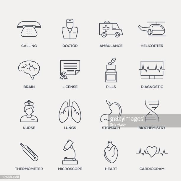 医療のアイコンを設定 - ライン シリーズ