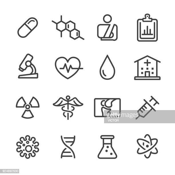 medical icon set - line series - medical symbol stock illustrations, clip art, cartoons, & icons