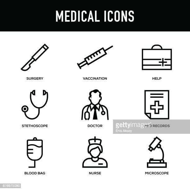 医療のアイコンを設定 - 太い線シリーズ - 医療研究所点のイラスト素材/クリップアート素材/マンガ素材/アイコン素材