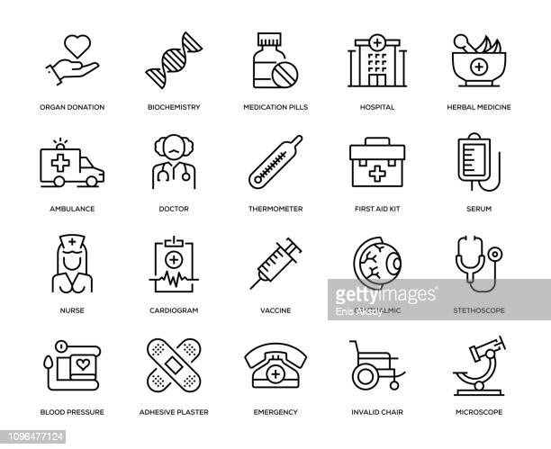 medical icon set - herbal medicine stock illustrations
