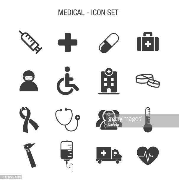 medical icon set - medical exam stock illustrations