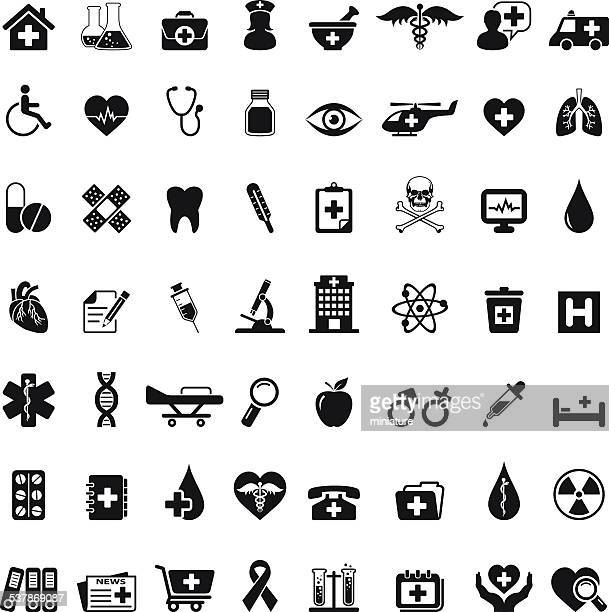 medical icon set - medical symbol stock illustrations, clip art, cartoons, & icons