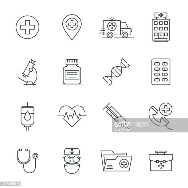 medical icon set - prescription stock illustrations, clip art, cartoons, & icons