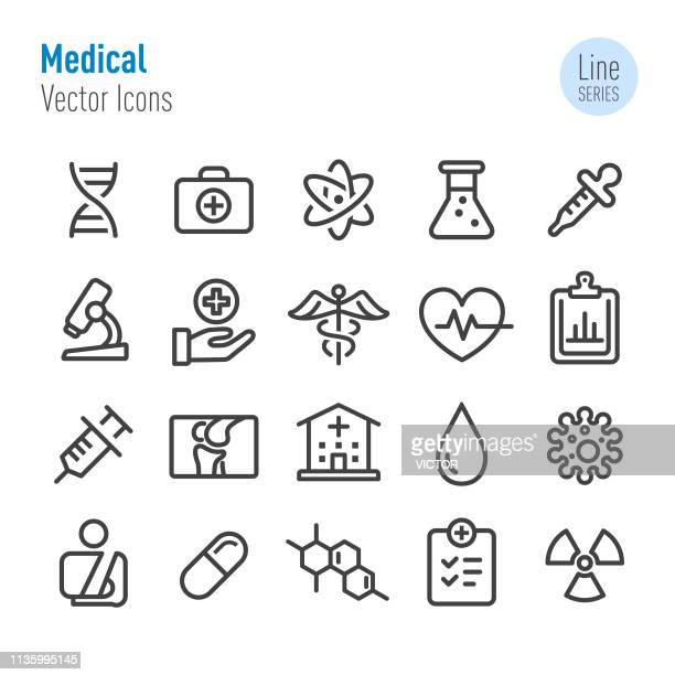 illustrazioni stock, clip art, cartoni animati e icone di tendenza di set di icone mediche - vector line series - parte di una serie