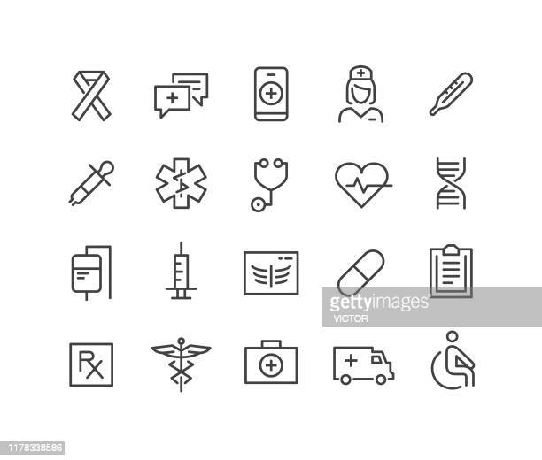 medical icons - classic line series - clipboard stock illustrations