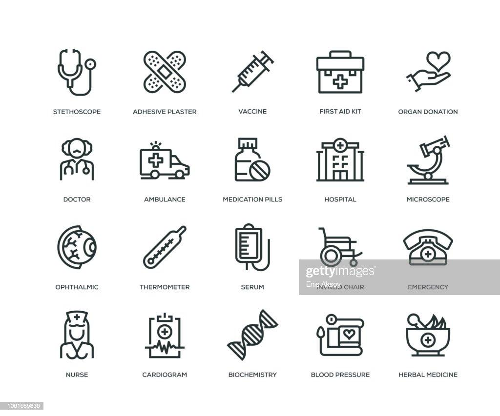 Ícones de médicas - linha série : Ilustração