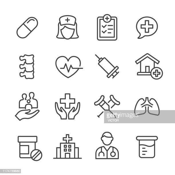 medical icons - line series - body care stock illustrations