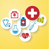 medical icons round yellow background