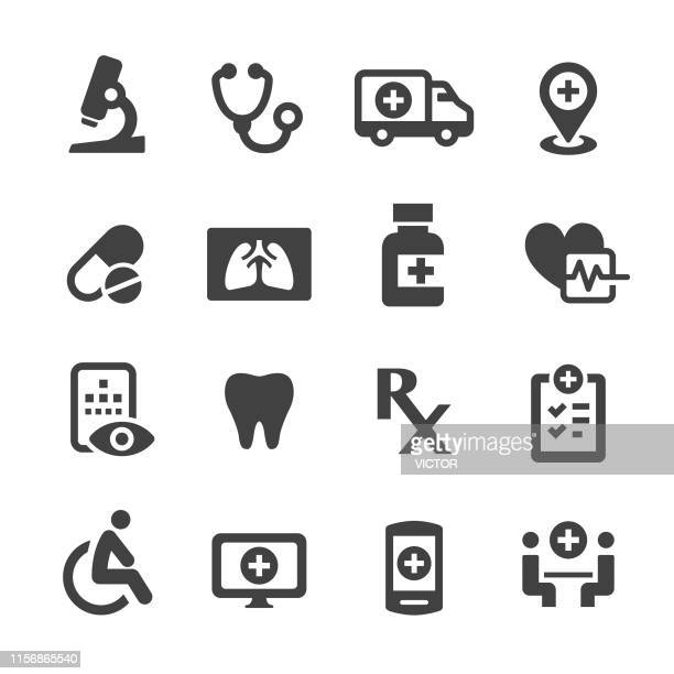 medical icons set - acme series - human body part stock illustrations