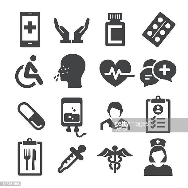 ilustraciones, imágenes clip art, dibujos animados e iconos de stock de medical icons set - acme series - resfriado y gripe