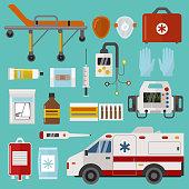 Medical icons set care ambulance emergency hospital vector illustration