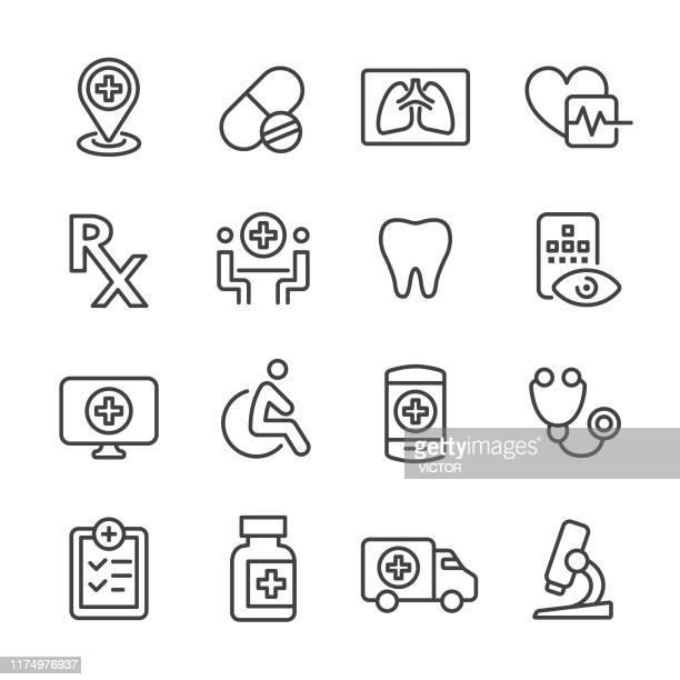 ilustrações, clipart, desenhos animados e ícones de ícones médicos ajustados-série da linha - exame de vista exame médico