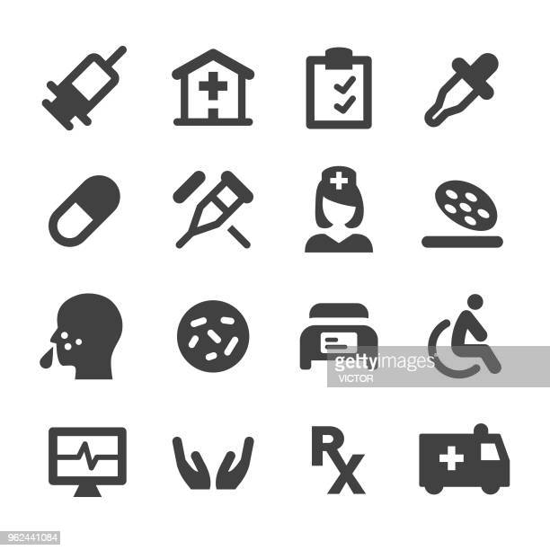 medical icons set - minimal series - cold and flu stock illustrations