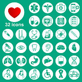 Medical icons set (general, tools, organs, symbols)