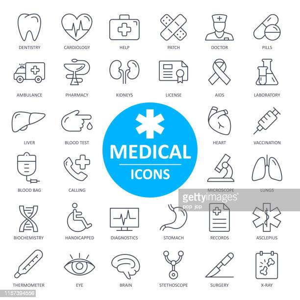 medical icons - thin line vector. health and medicine - medical x ray stock illustrations