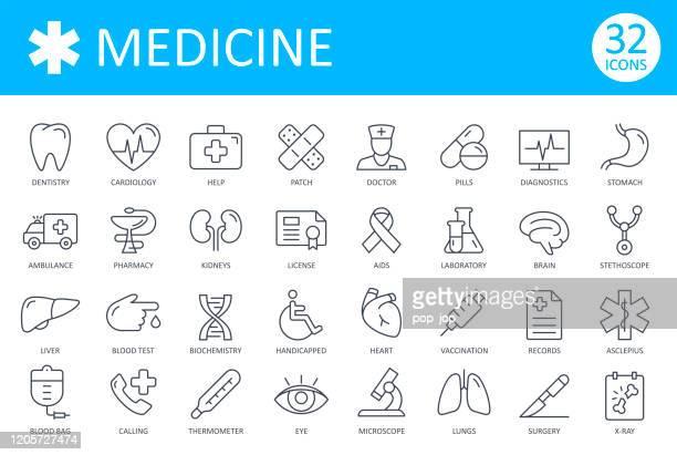 illustrations, cliparts, dessins animés et icônes de icônes médicales - vecteur de ligne mince. santé et médecine - permis de conduire