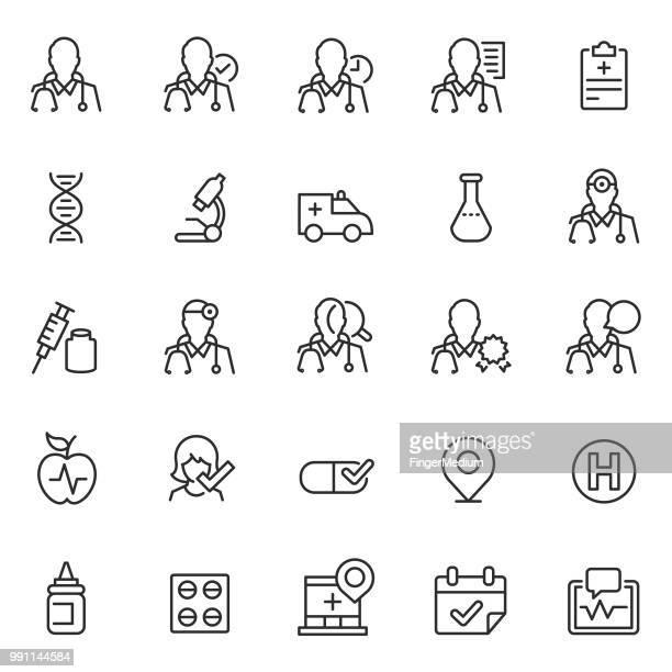 ilustrações, clipart, desenhos animados e ícones de ícones de médico  - doutor