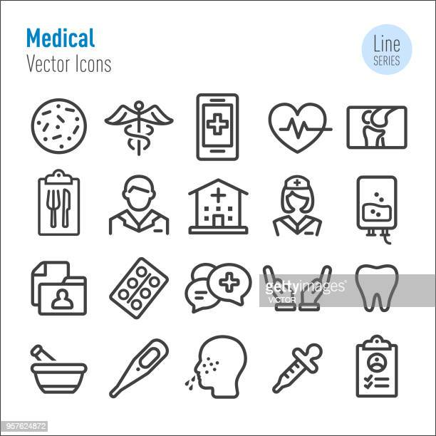 medical icons - vector line series - mortar and pestle stock illustrations, clip art, cartoons, & icons