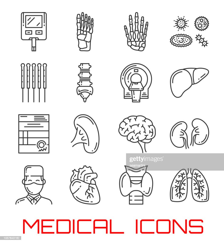 Medical icons with human organs and doctor
