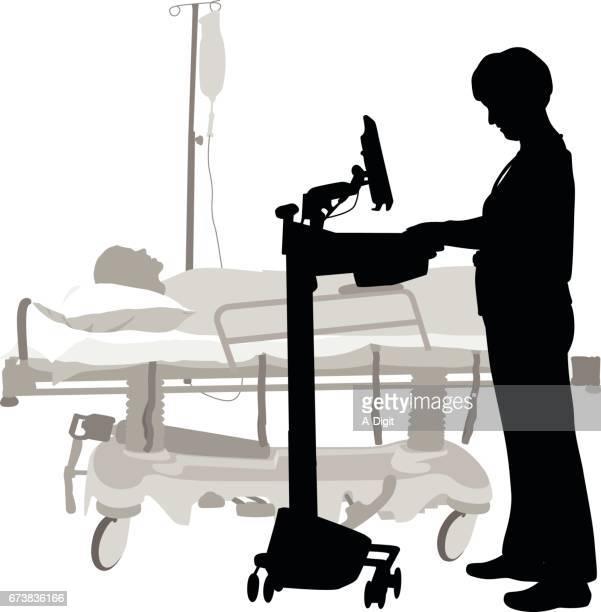 ilustraciones, imágenes clip art, dibujos animados e iconos de stock de información médica a la mano - asistente de enfermera