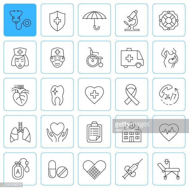 medical insurance line icons. healthcare and medical services. editable stroke. - mental wellbeing stock illustrations