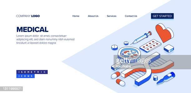 医療アイソメトリックウェブバナーコンセプトと三次元設計 - レントゲン撮影装置点のイラスト素材/クリップアート素材/マンガ素材/アイコン素材