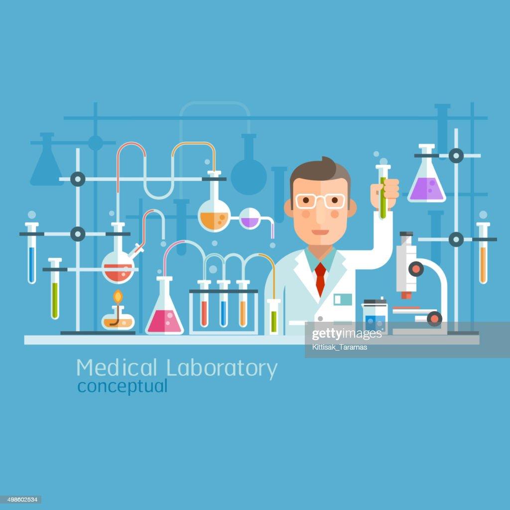 Medical Laboratory Conceptual Cartoon Character.