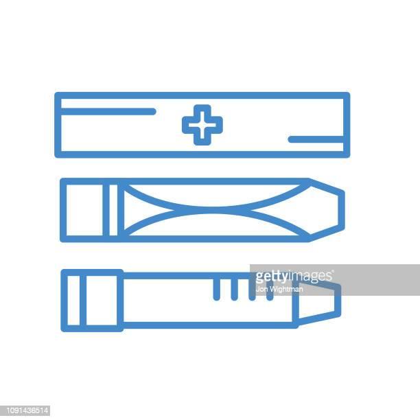 医療線アイコン - エピ ペン - 視力検査機器点のイラスト素材/クリップアート素材/マンガ素材/アイコン素材