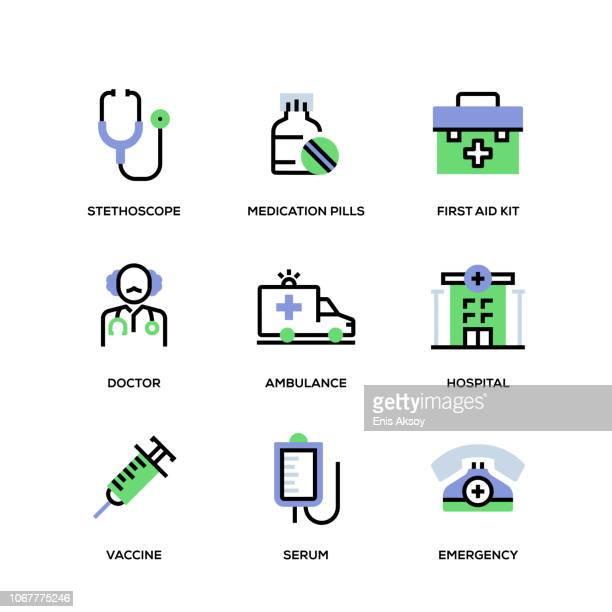 illustrations, cliparts, dessins animés et icônes de medical line icon set - seringue