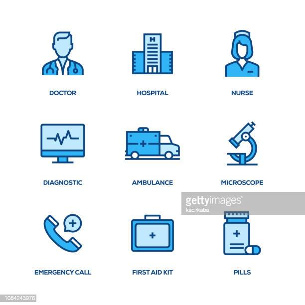 medical line icon set - x ray equipment stock illustrations, clip art, cartoons, & icons