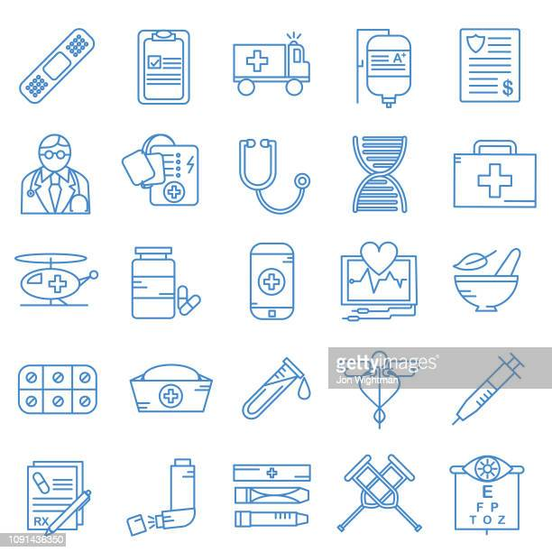 medical line icon set - blood bag stock illustrations, clip art, cartoons, & icons