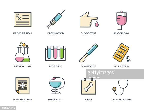 medical line icon set - blood test stock illustrations, clip art, cartoons, & icons