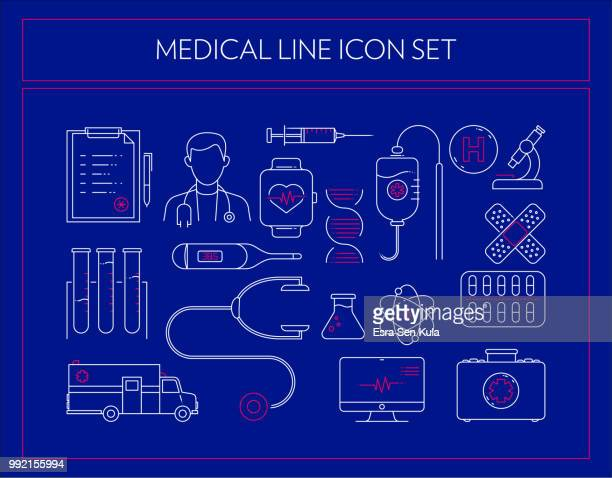 medical line icon set - blood cell stock illustrations, clip art, cartoons, & icons