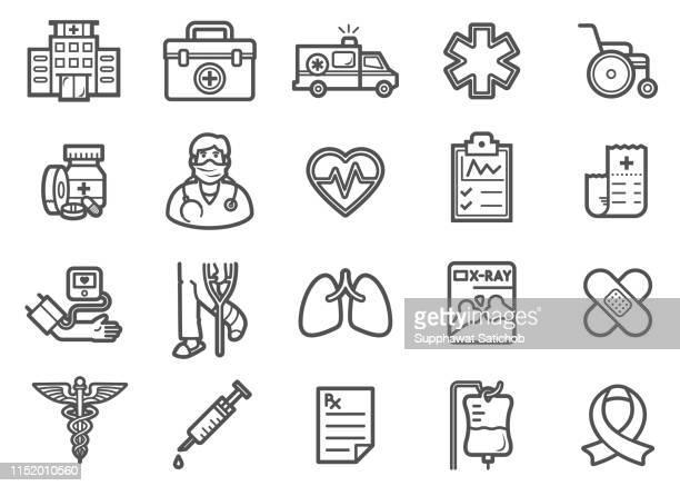 illustrazioni stock, clip art, cartoni animati e icone di tendenza di set icone linea medica - portablocco a molla
