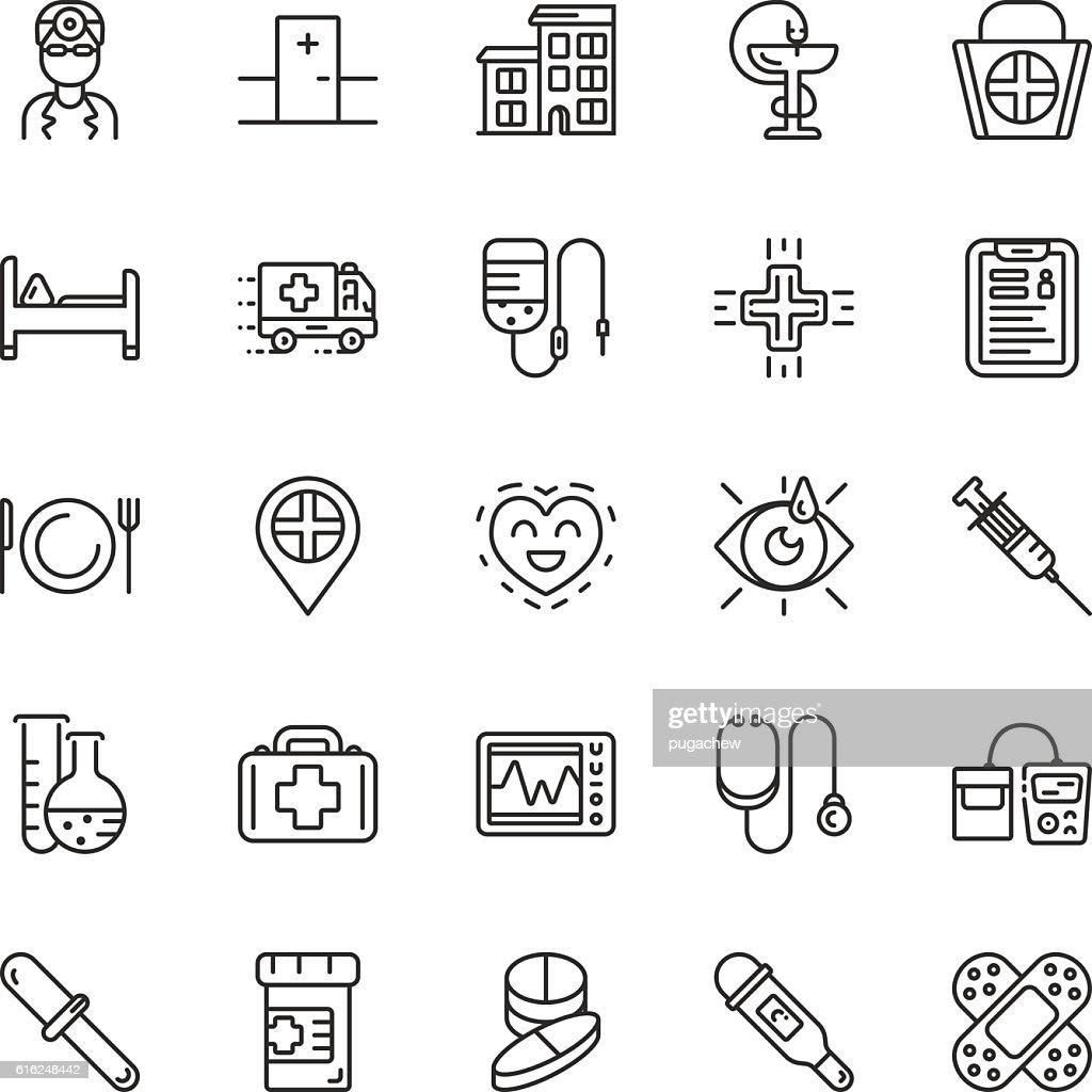 Medical line icons. Vector elements : Arte vectorial
