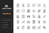 30 Medical Line Icons