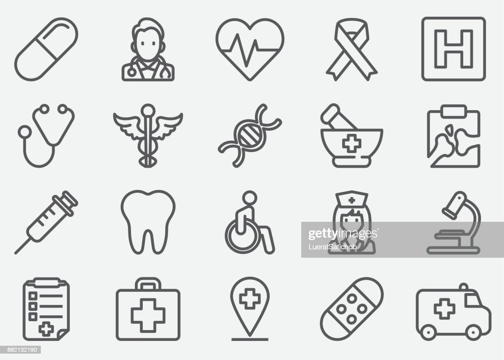 Medizinische Linie Icons : Stock-Illustration