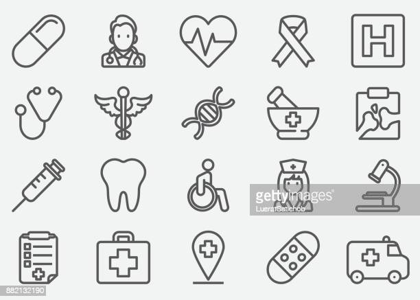 medical line icons - mortar and pestle stock illustrations, clip art, cartoons, & icons