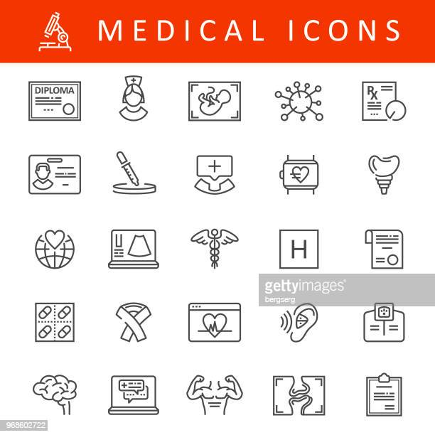 medical line icons - hearing aid stock illustrations, clip art, cartoons, & icons