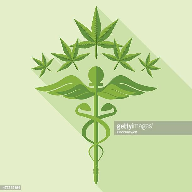 medical marijuana concept and caduceus - marijuana leaf text symbol stock illustrations, clip art, cartoons, & icons