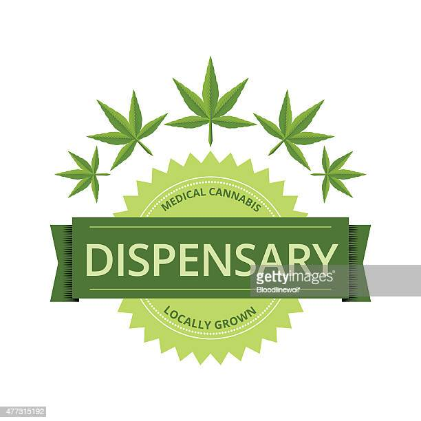medical marijuana dispensary label with leaves - cannabis plant stock illustrations, clip art, cartoons, & icons