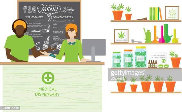 medical marijuana dispensary shop - bong stock illustrations, clip art, cartoons, & icons