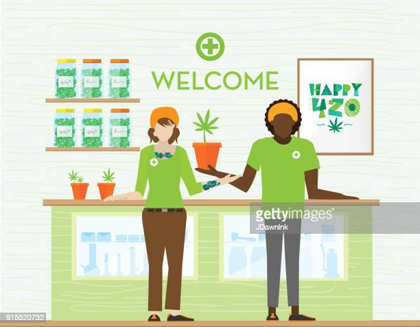 medical marijuana dispensary shop - marijuana leaf text symbol stock illustrations, clip art, cartoons, & icons
