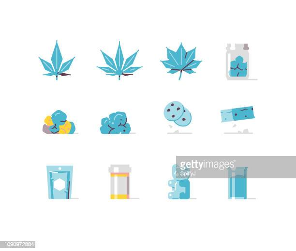 medical marijuana flat icons series - naughty america stock illustrations, clip art, cartoons, & icons