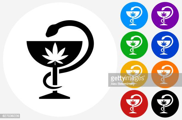 Medical Marijuana Icon on Flat Color Circle Buttons