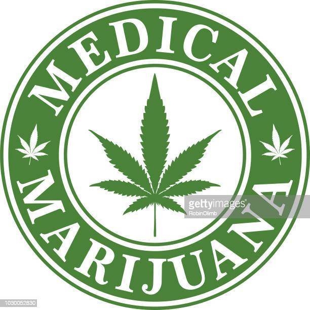 medical marijuana icon - marijuana leaf text symbol stock illustrations, clip art, cartoons, & icons