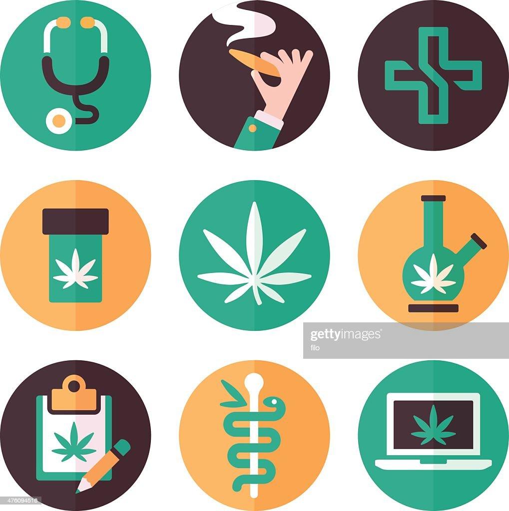 Marijuana médico símbolos e ícones : Ilustração
