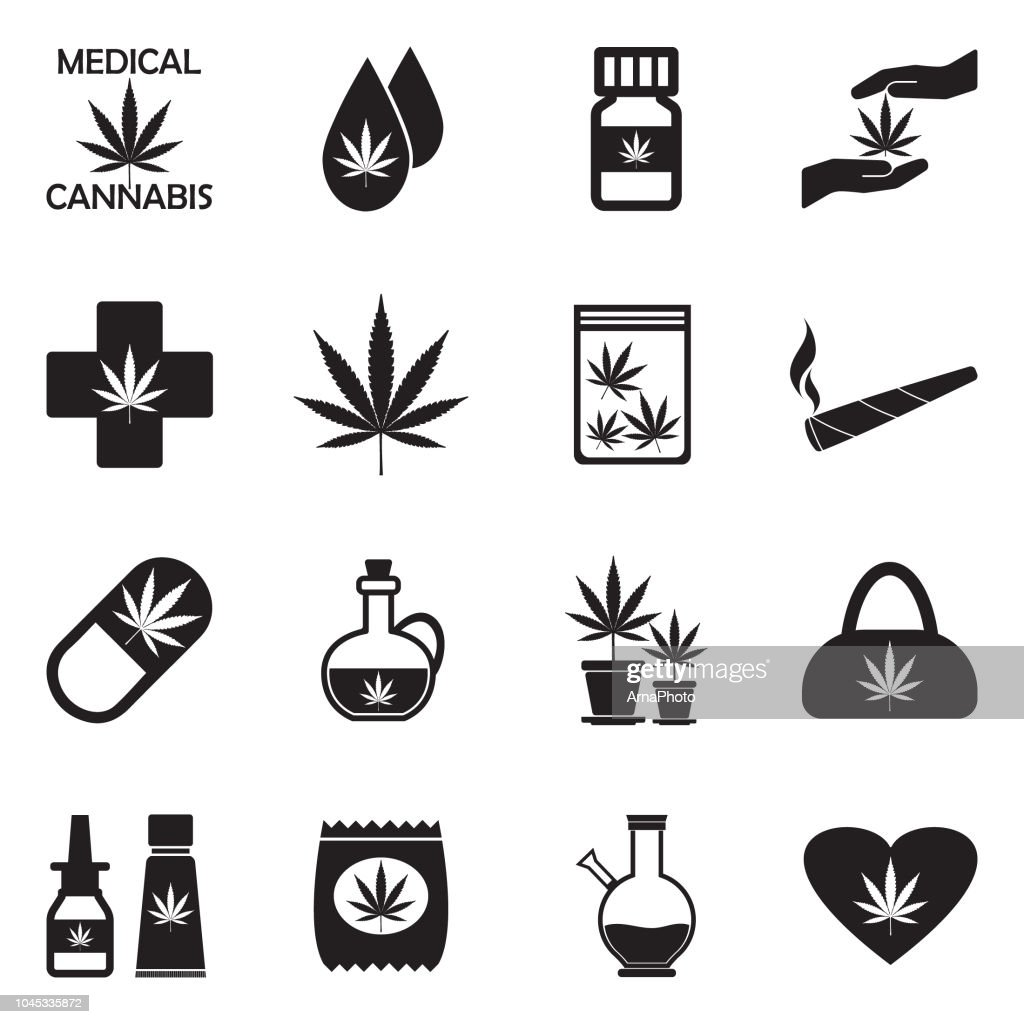 Medical Marijuana Icons. Black Flat Design. Vector Illustration.